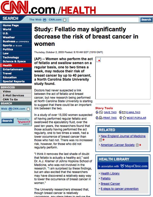 Fellatio breast cancer